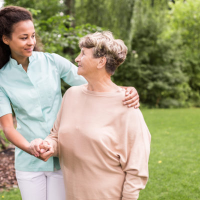 Home care companion with senior woman